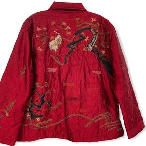 Chico's Design 100% Silk Embroidered Asian Jacket